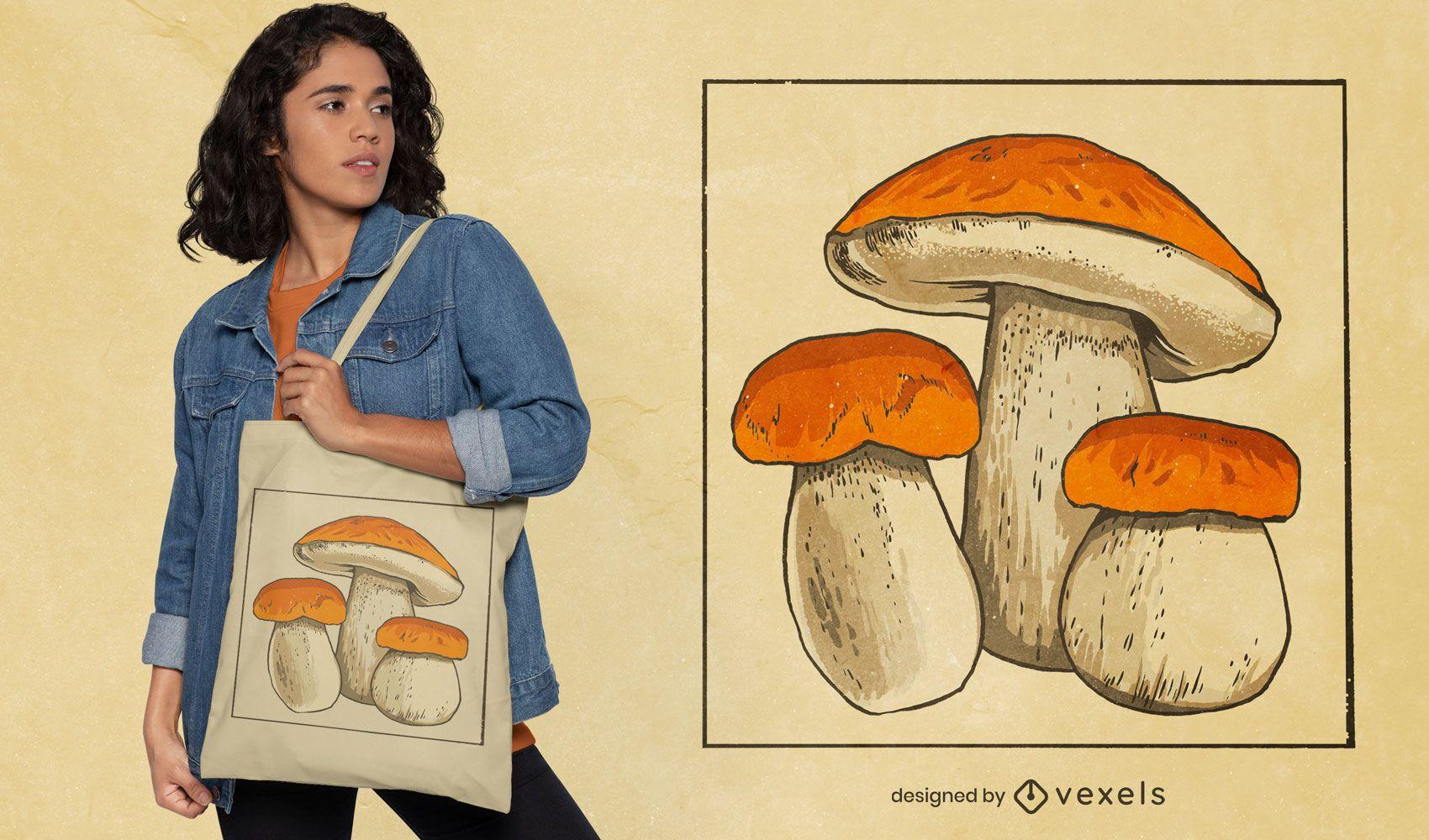Three mushrooms tote bag design