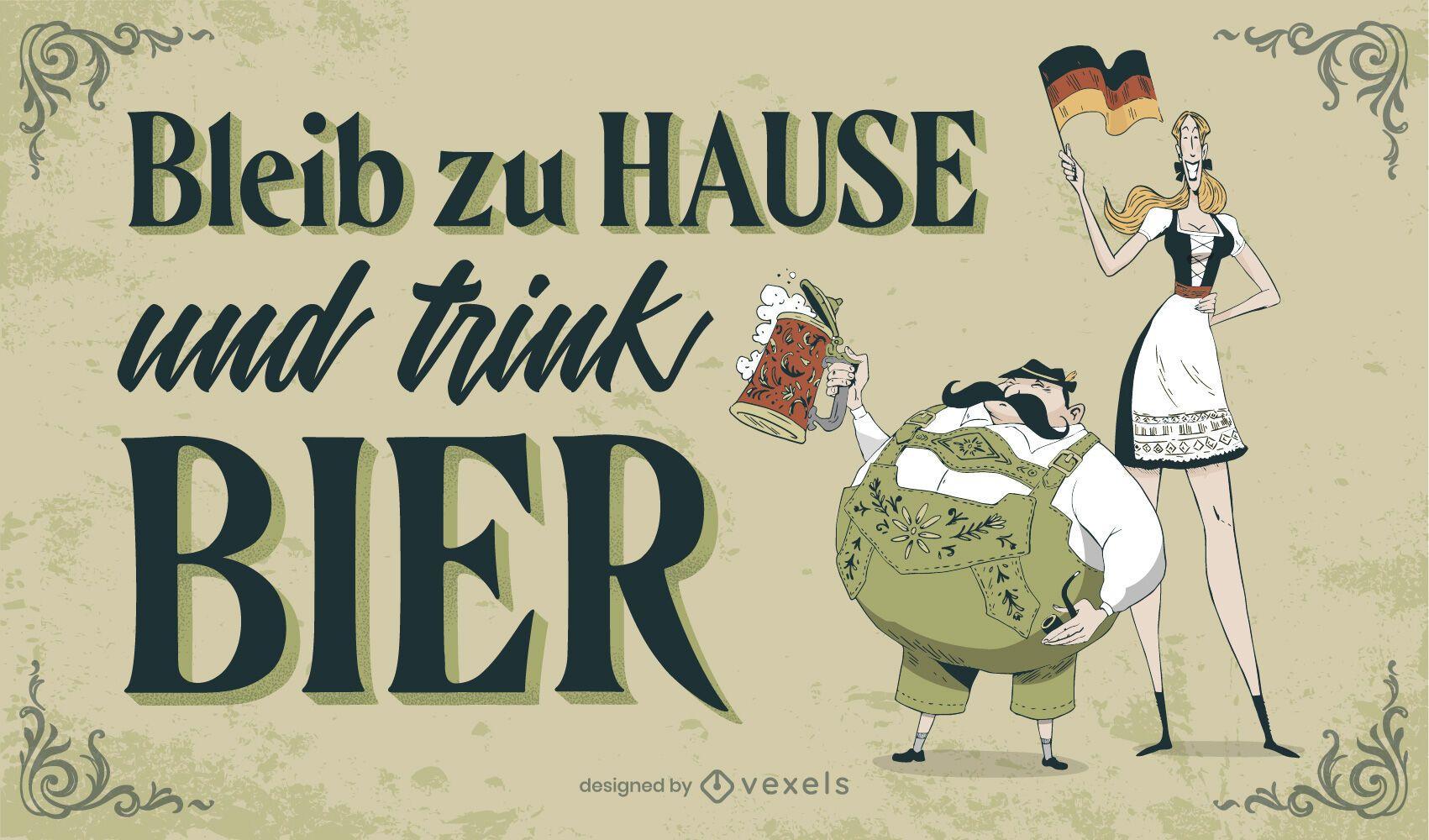 Sinal de letras da Oktoberfest para ficar em casa