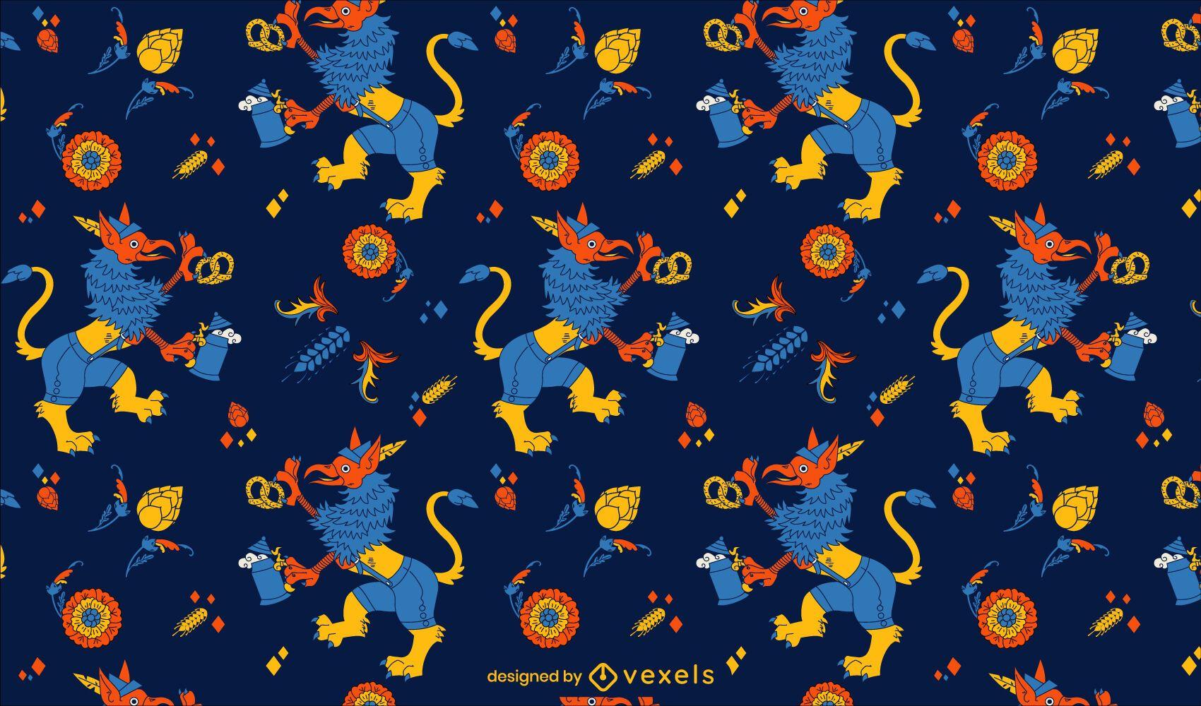 Patrón de Oktoberfest griffin azul