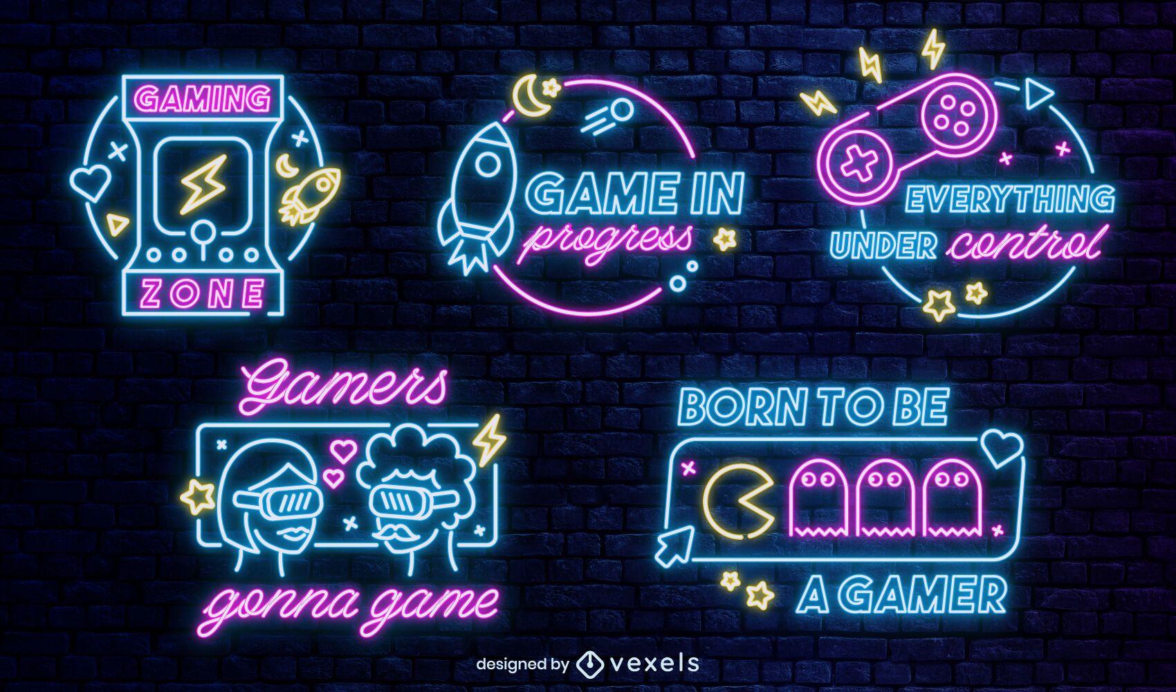 Neon gaming badges set