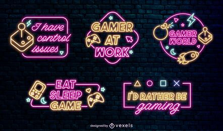 Gaming neon quote badges set