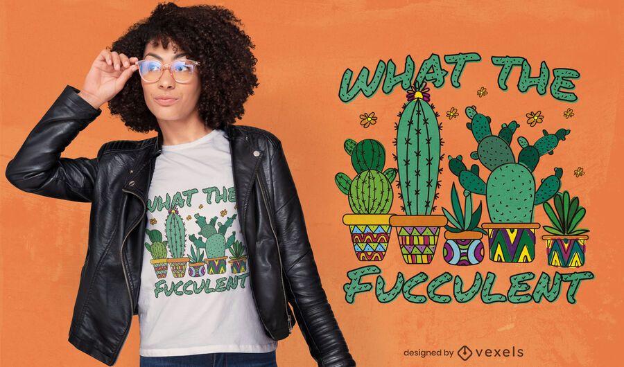 Diseño de camiseta de cita suculenta de cactus.