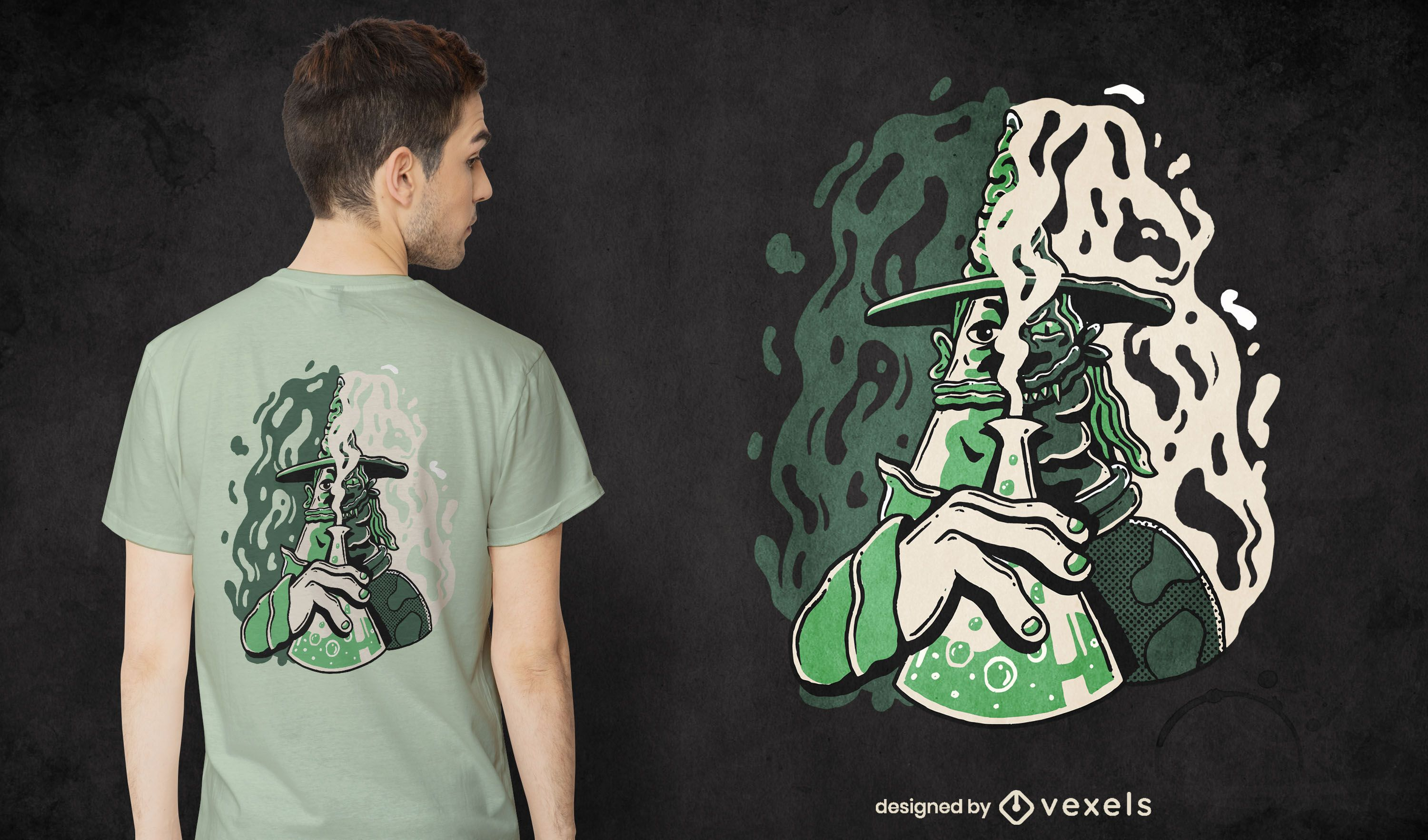 Evil wizard character potion t-shirt design