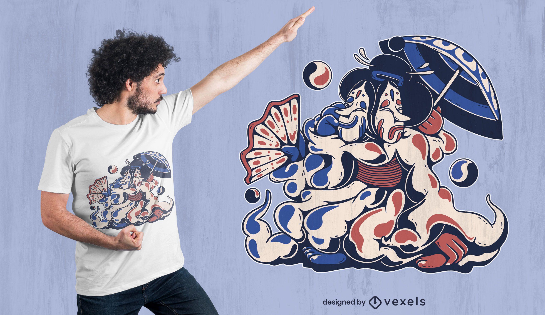 Camiseta de criatura geisha japonesa deisgn