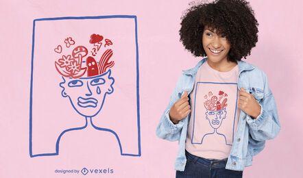 Plants in brain doodle t-shirt design