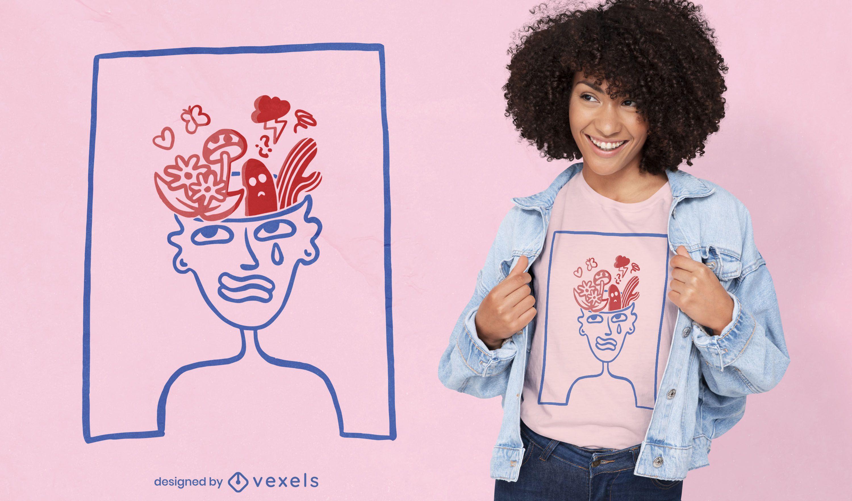 Plantas en el diseño de la camiseta del doodle del cerebro