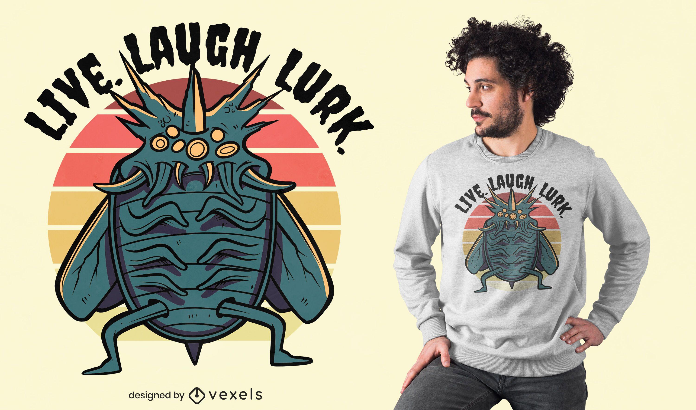 Design de t-shirt de monstro de inseto assustador