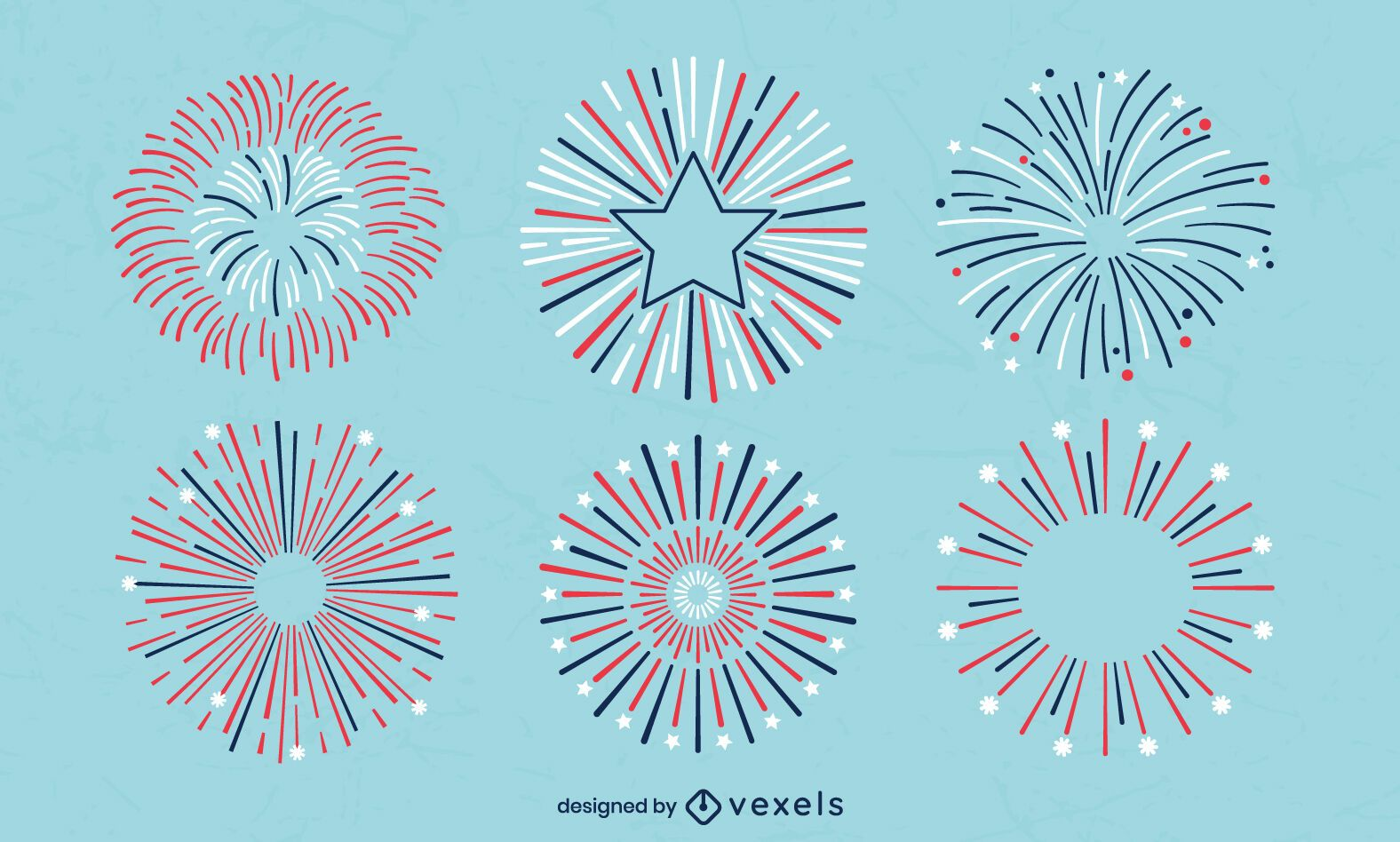 Set of stroke fourth of july fireworks