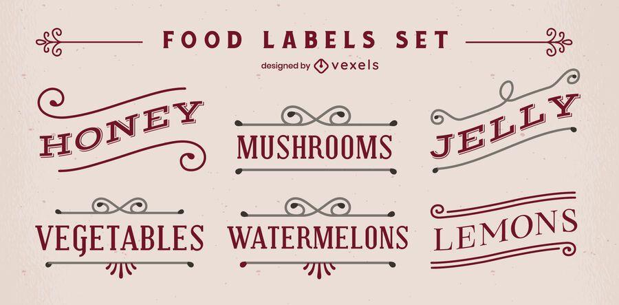 Set of vintage style food labels
