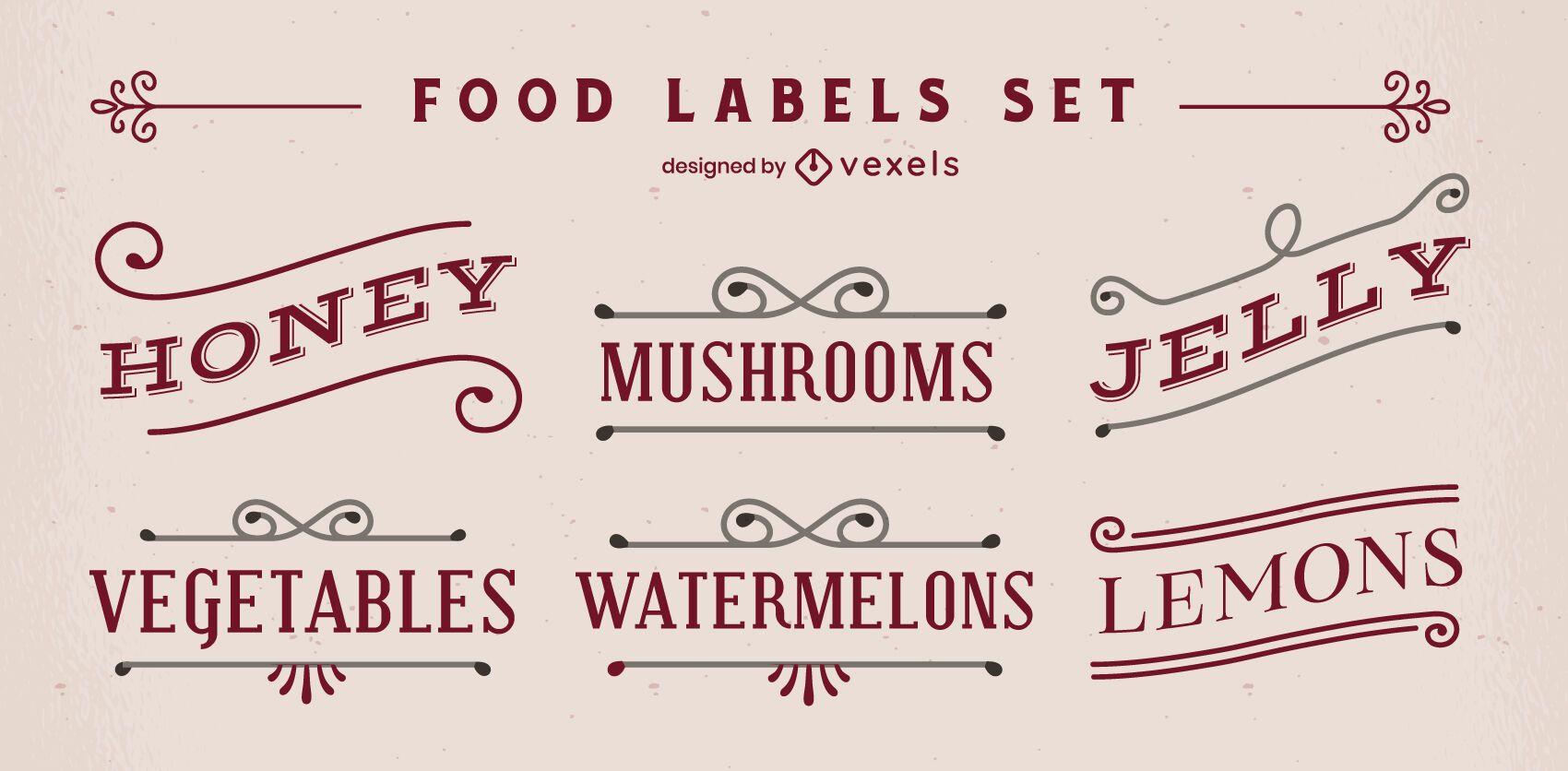 Conjunto de etiquetas de alimentos de estilo vintage