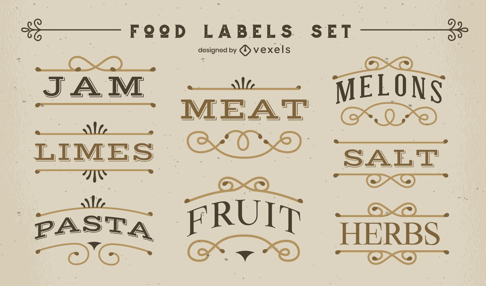 Conjunto de rótulos de alimentos em estilo vintage