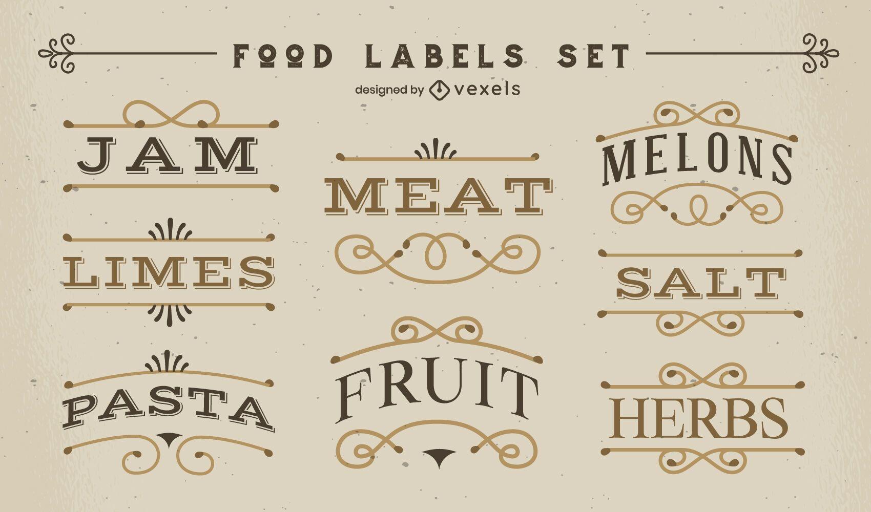 Vintage style food labels set
