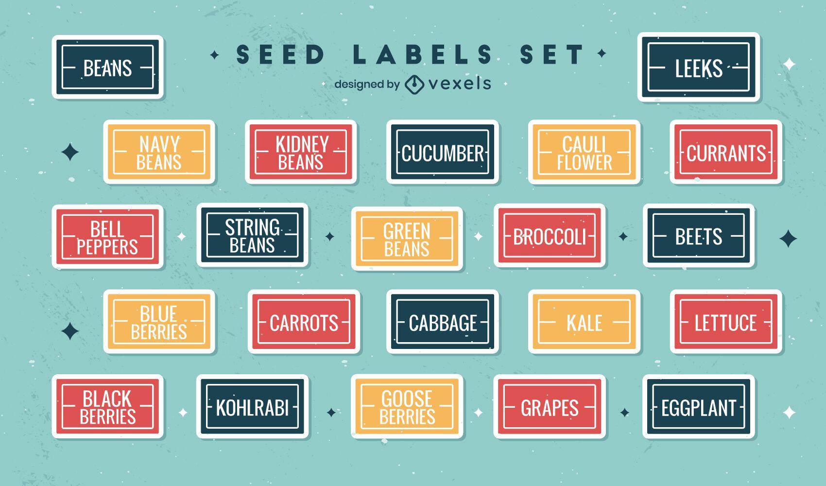 Conjunto de rótulos de vegetais simples