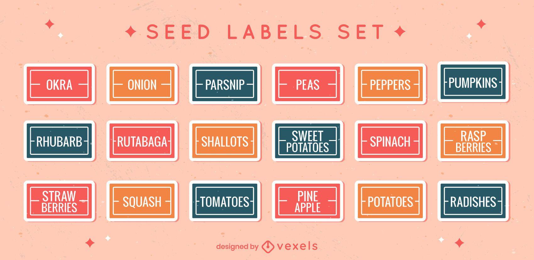 Conjunto plano de rótulos de vegetais