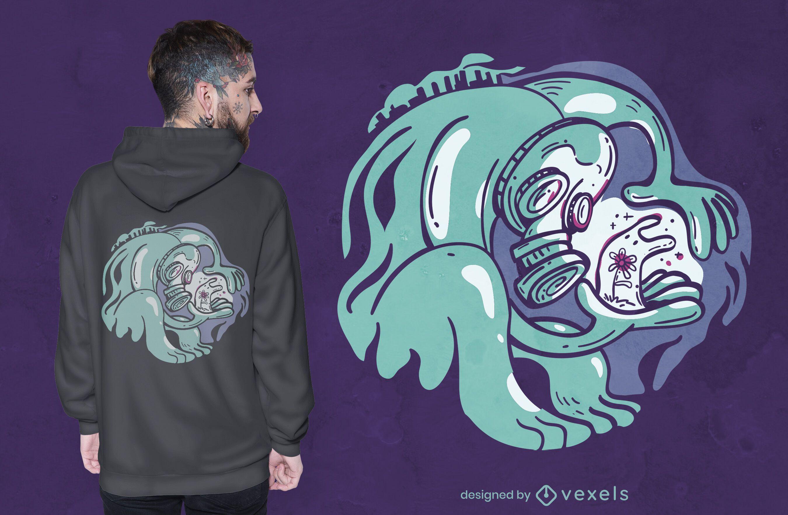 Monster with flower cartoon t-shirt design