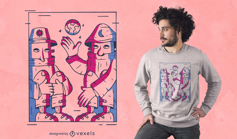 Diseño de camiseta de gente de madera hablando.