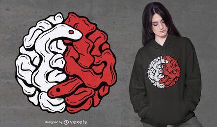 Brain snake yin yang t-shirt design