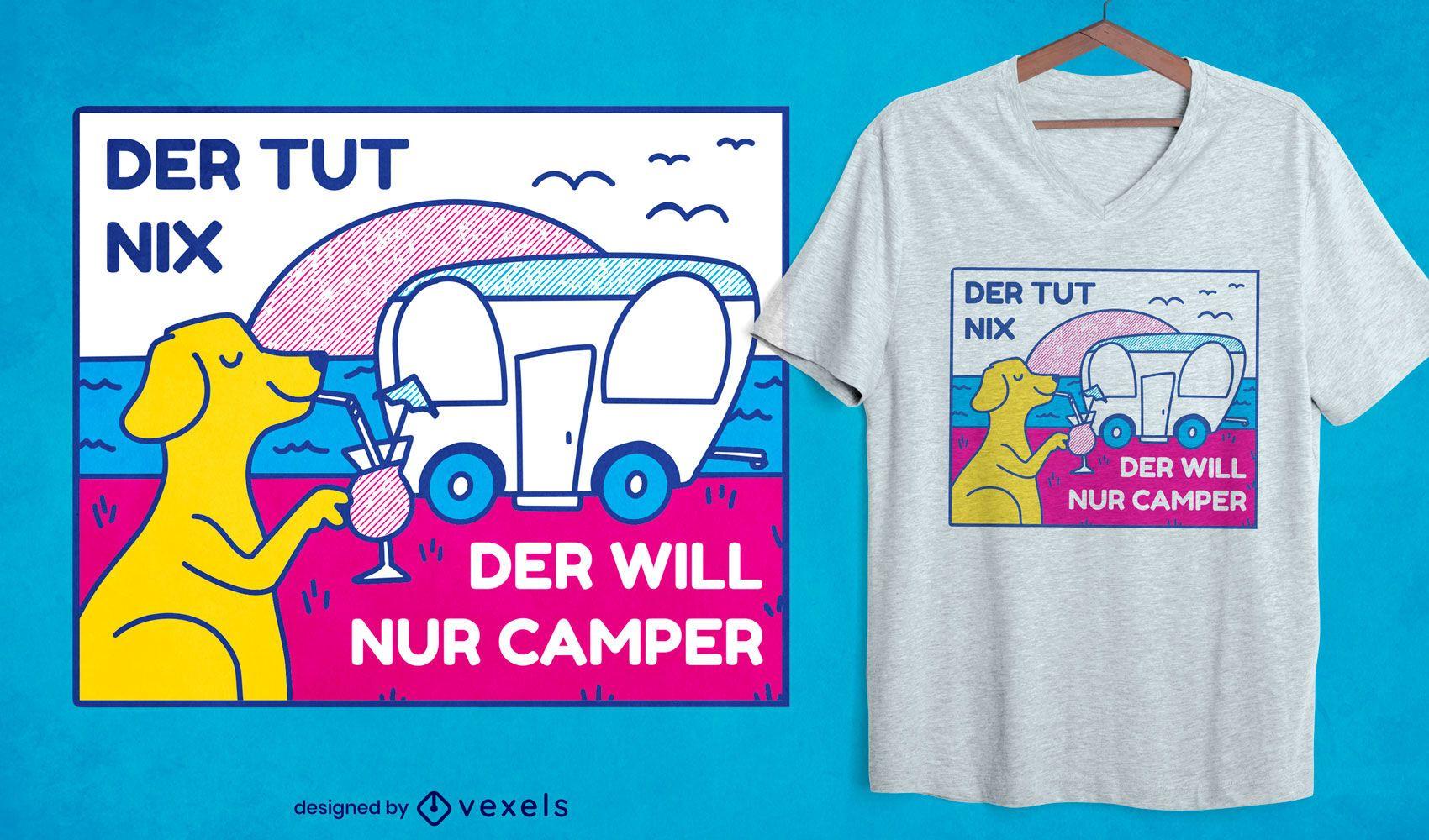 Perro con diseño de camiseta de autocaravana.