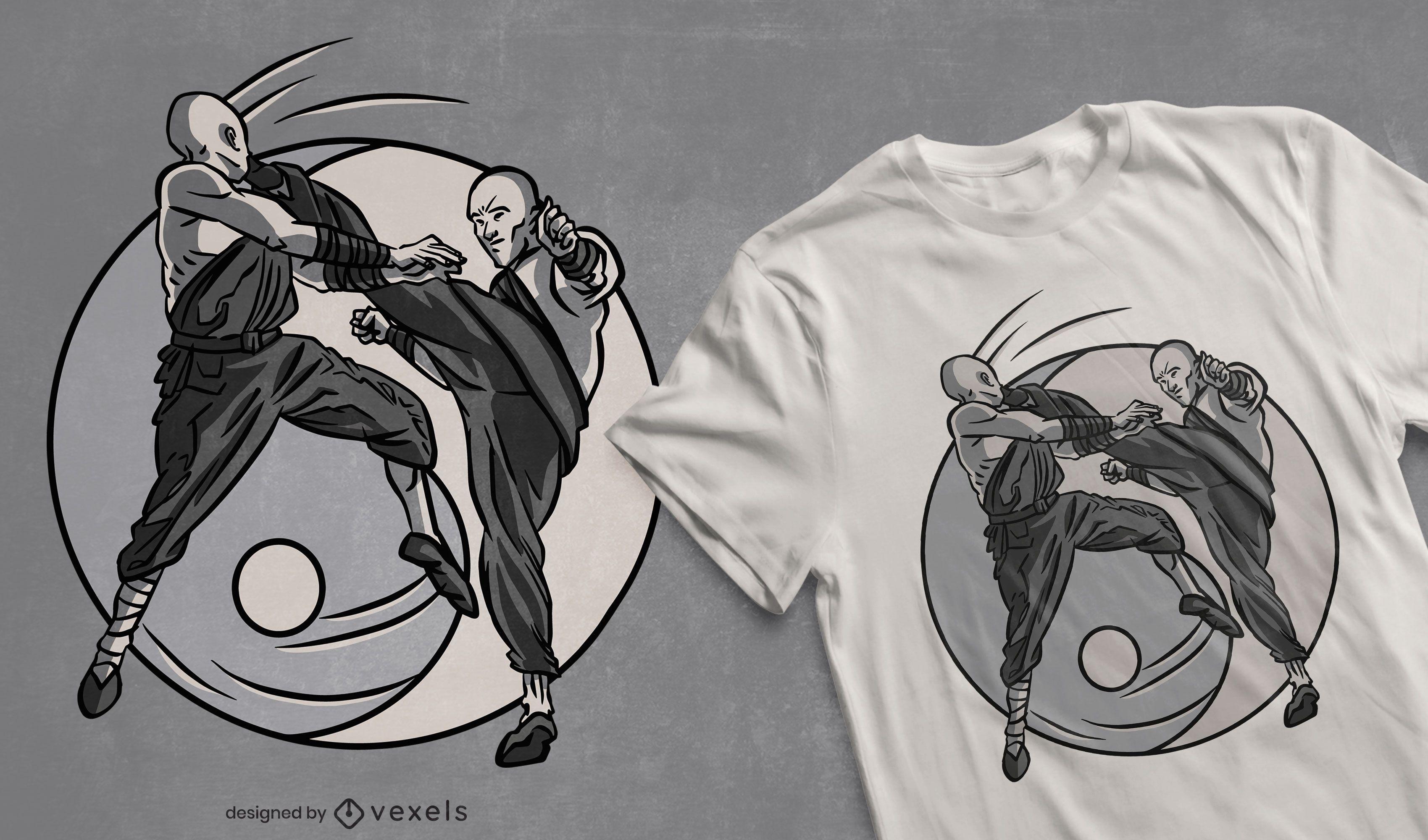 Design de t-shirt dos monges Shaolin lutadores
