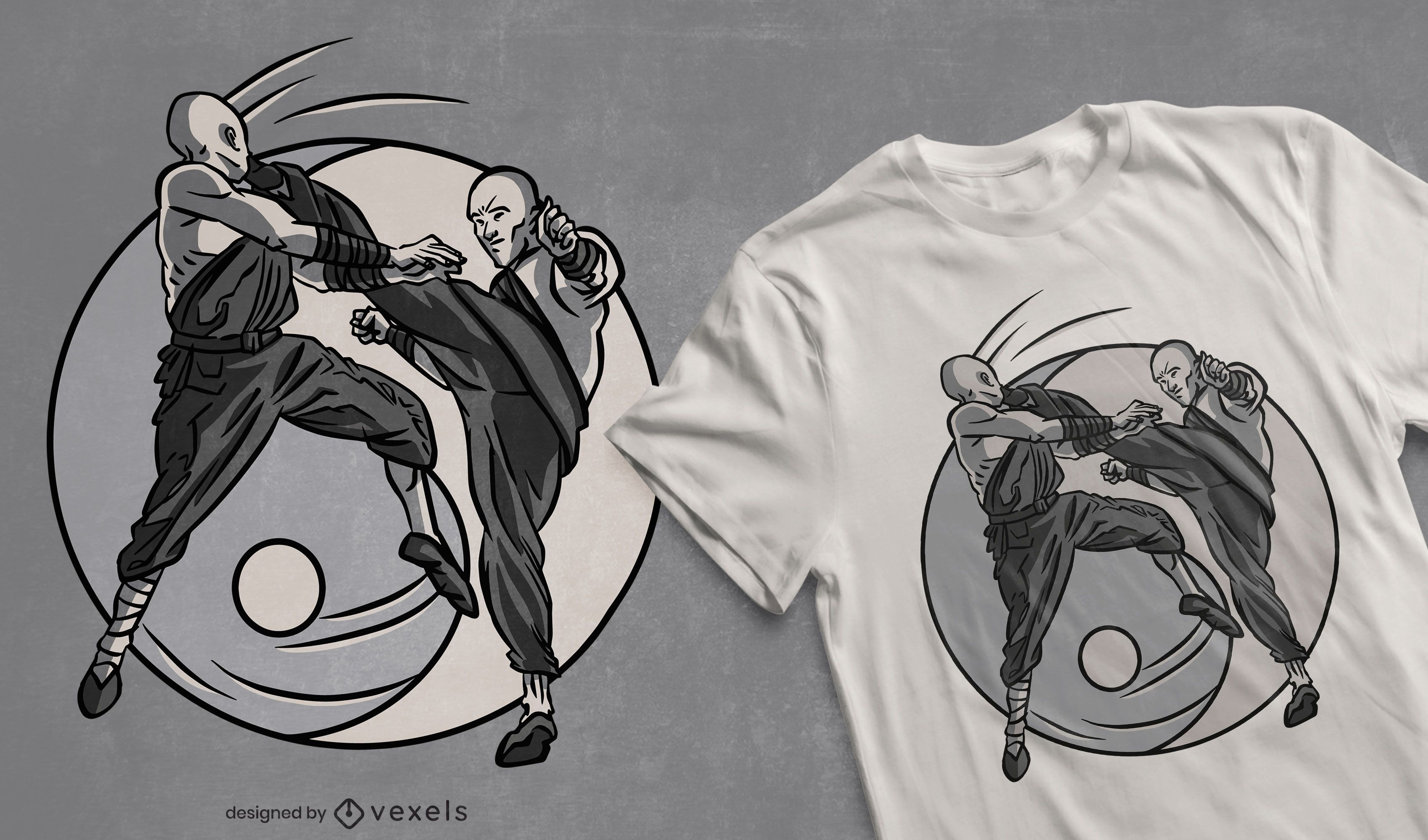 Shaolin monks fighters t-shirt dsign