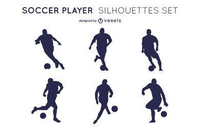 Conjunto de silueta de jugadores de deporte de pelota de fútbol