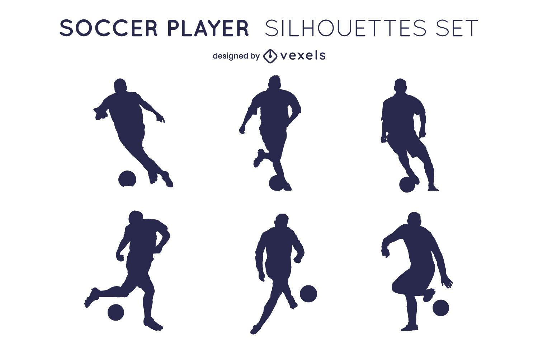 Conjunto de silhueta de jogadores de esporte de bola de futebol