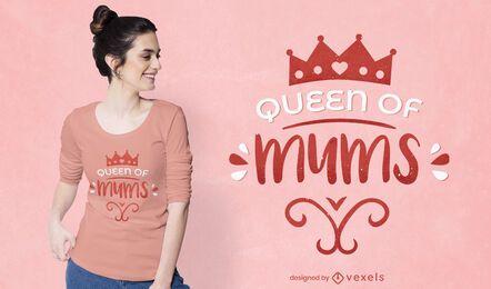 Diseño de camiseta de la reina de las mamás.