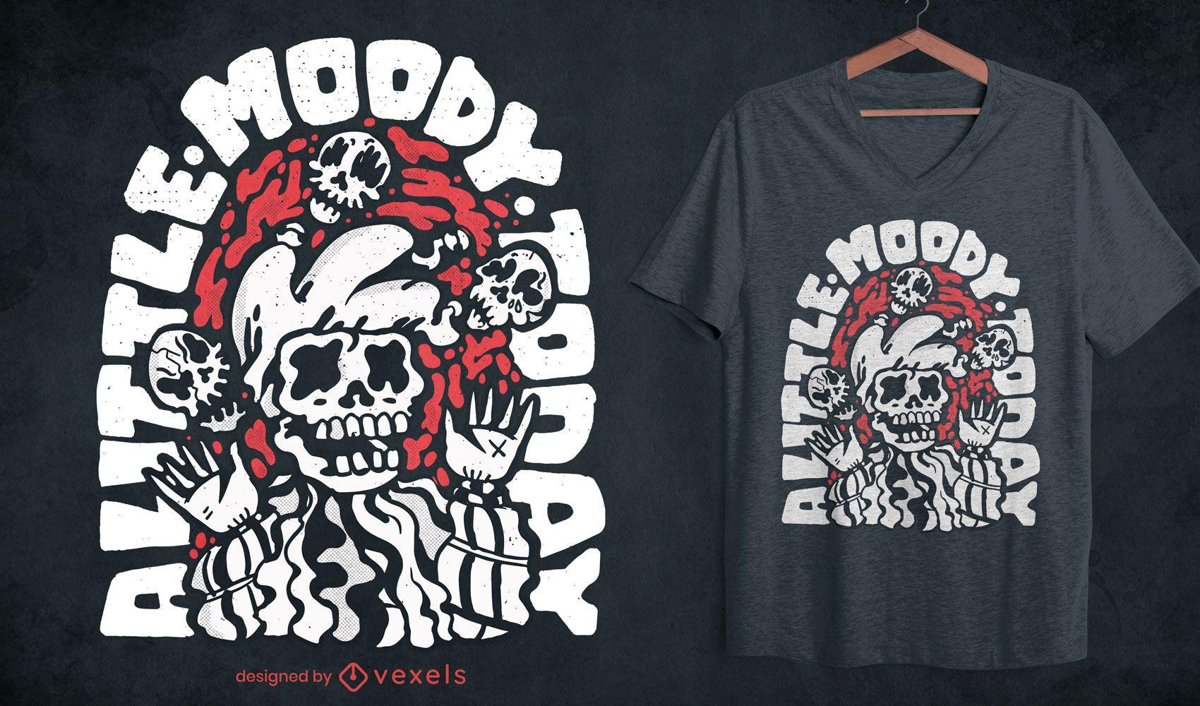 Bufón esqueleto malabares calaveras diseño de camiseta