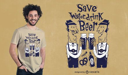 Beber cerveza personajes diseño de camiseta.