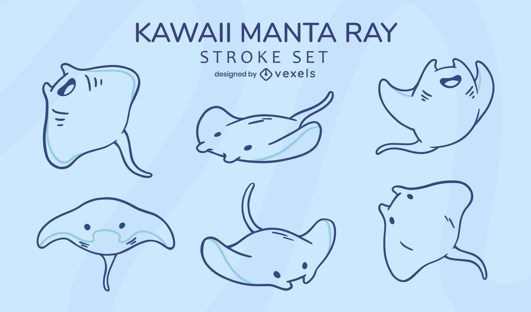 Stingray sea animal kawaii stroke set