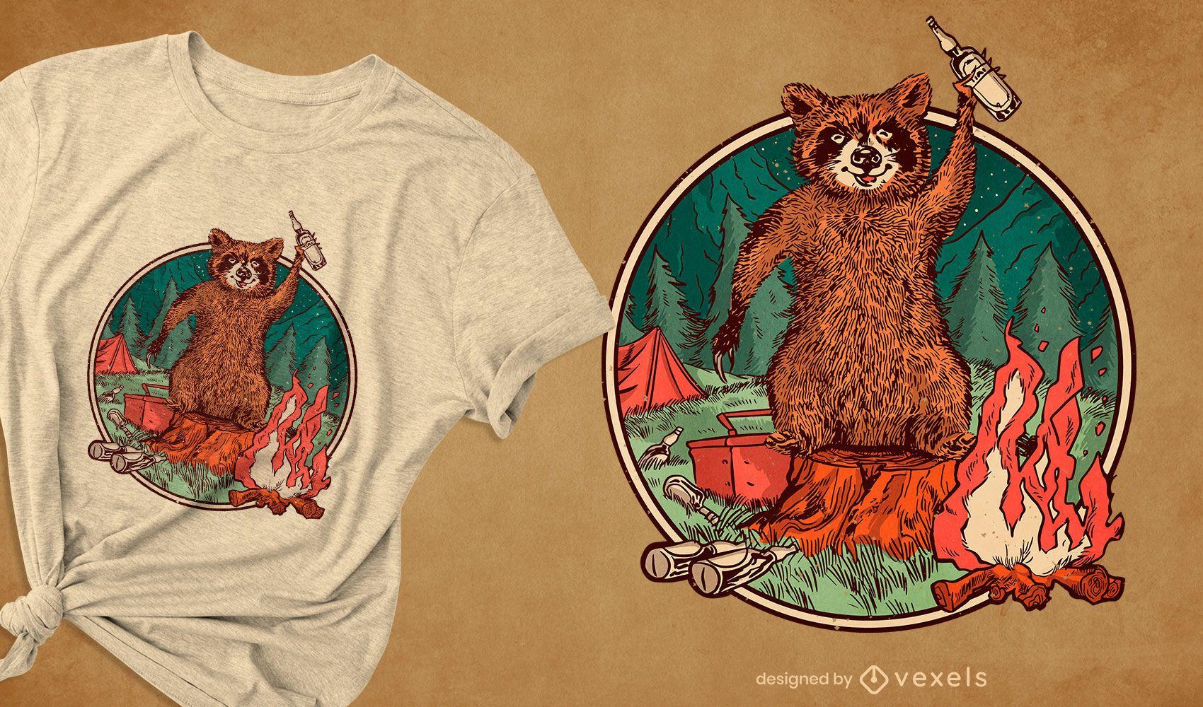 Design de camiseta de guaxinim de acampamento