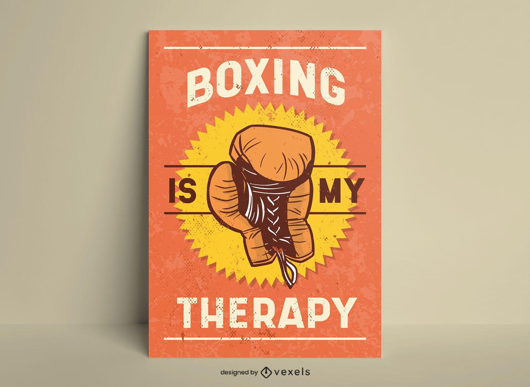 Boxing is my therapy vintage style poster