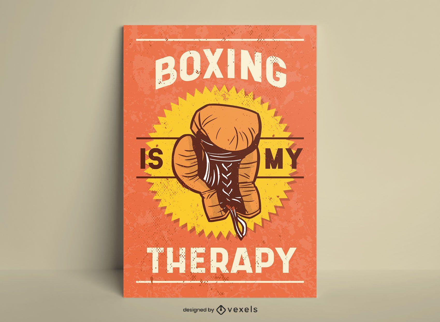 Póster El boxeo es mi terapia estilo vintage.