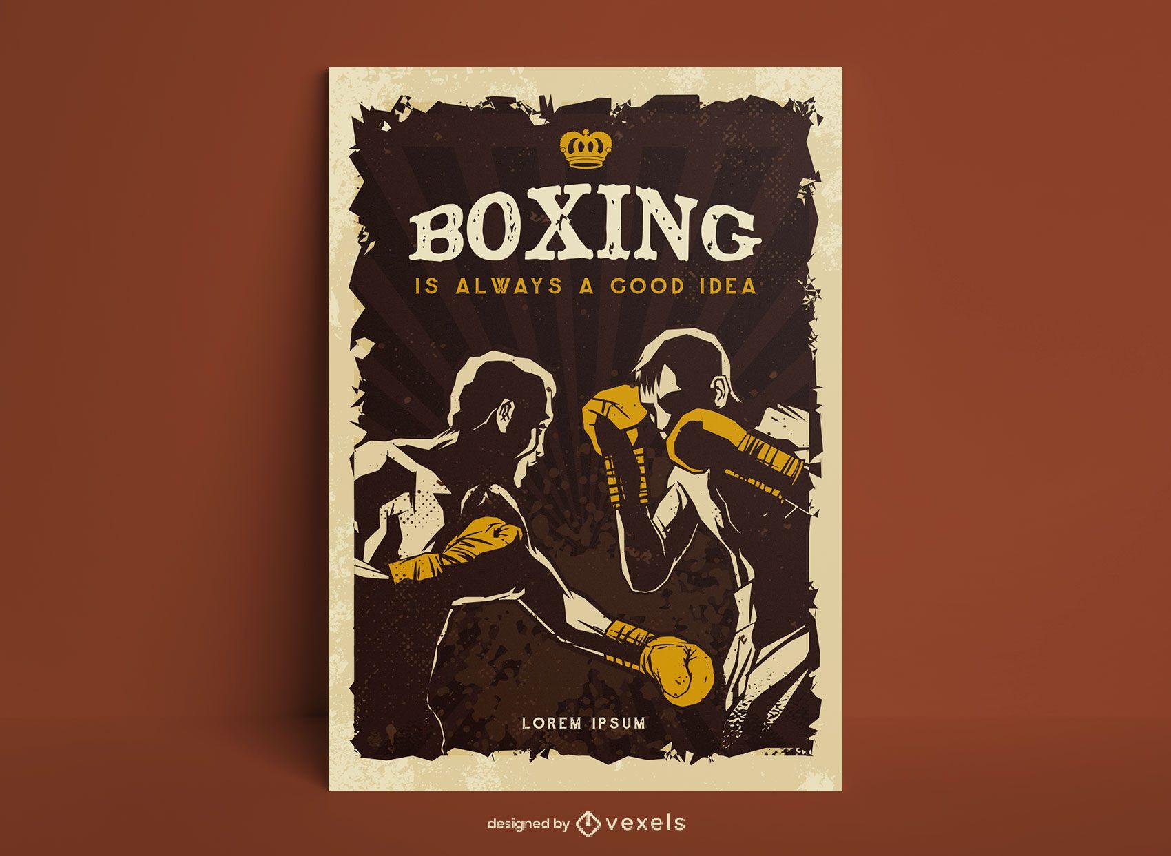 Design de pôster de boxe estilo vintage
