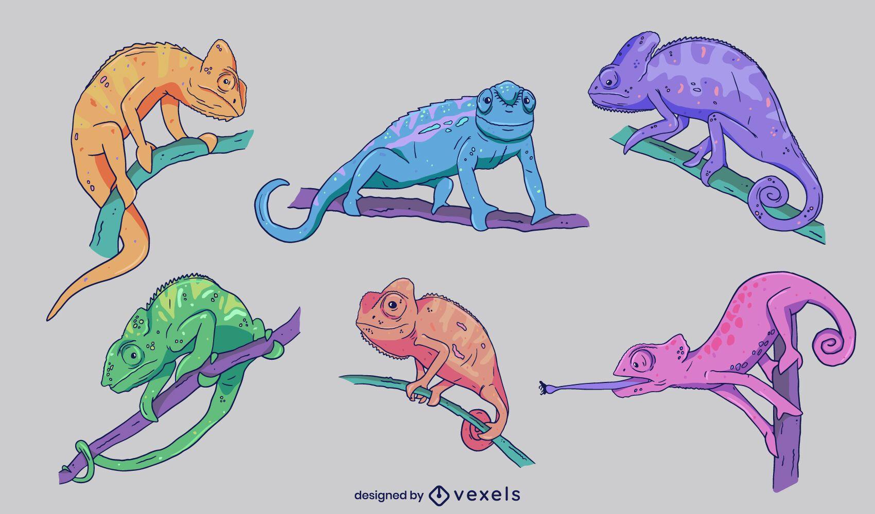 Set of hand drawn colorful chameleons
