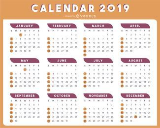 2019 TABLE CALENDAR TEMPLATE VECTOR DESIGN