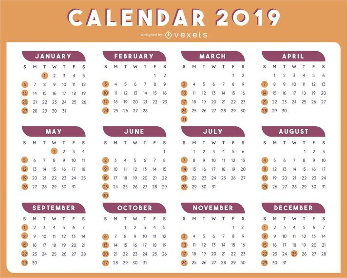 2019 Table Calendar Template Vector Design Vector Download