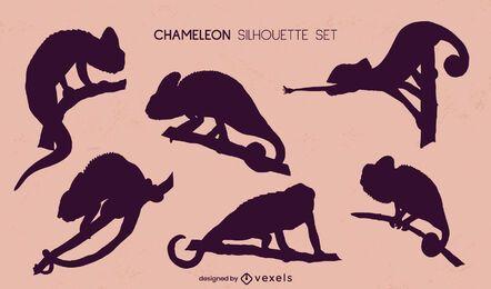 Conjunto de siluetas de camaleones