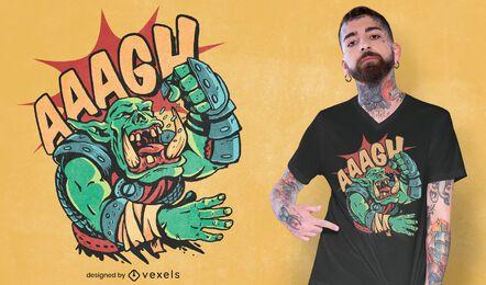 Schreiendes Ork-Oger-T-Shirt-Design