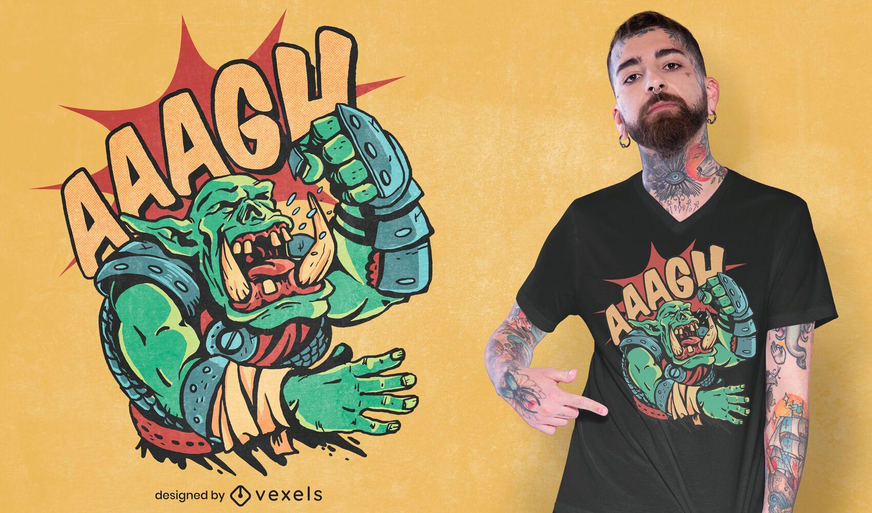 Design de camiseta de ogro orc gritando