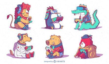 Conjunto de animales lindos juegos