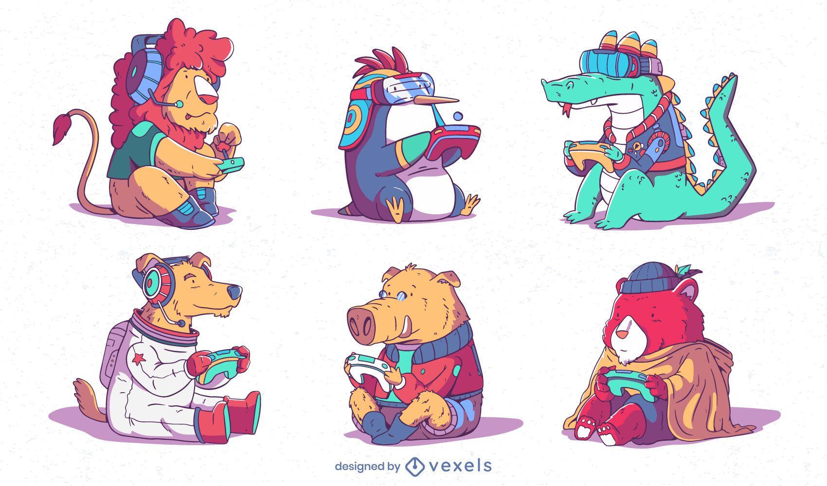 Conjunto de animais fofos para jogos