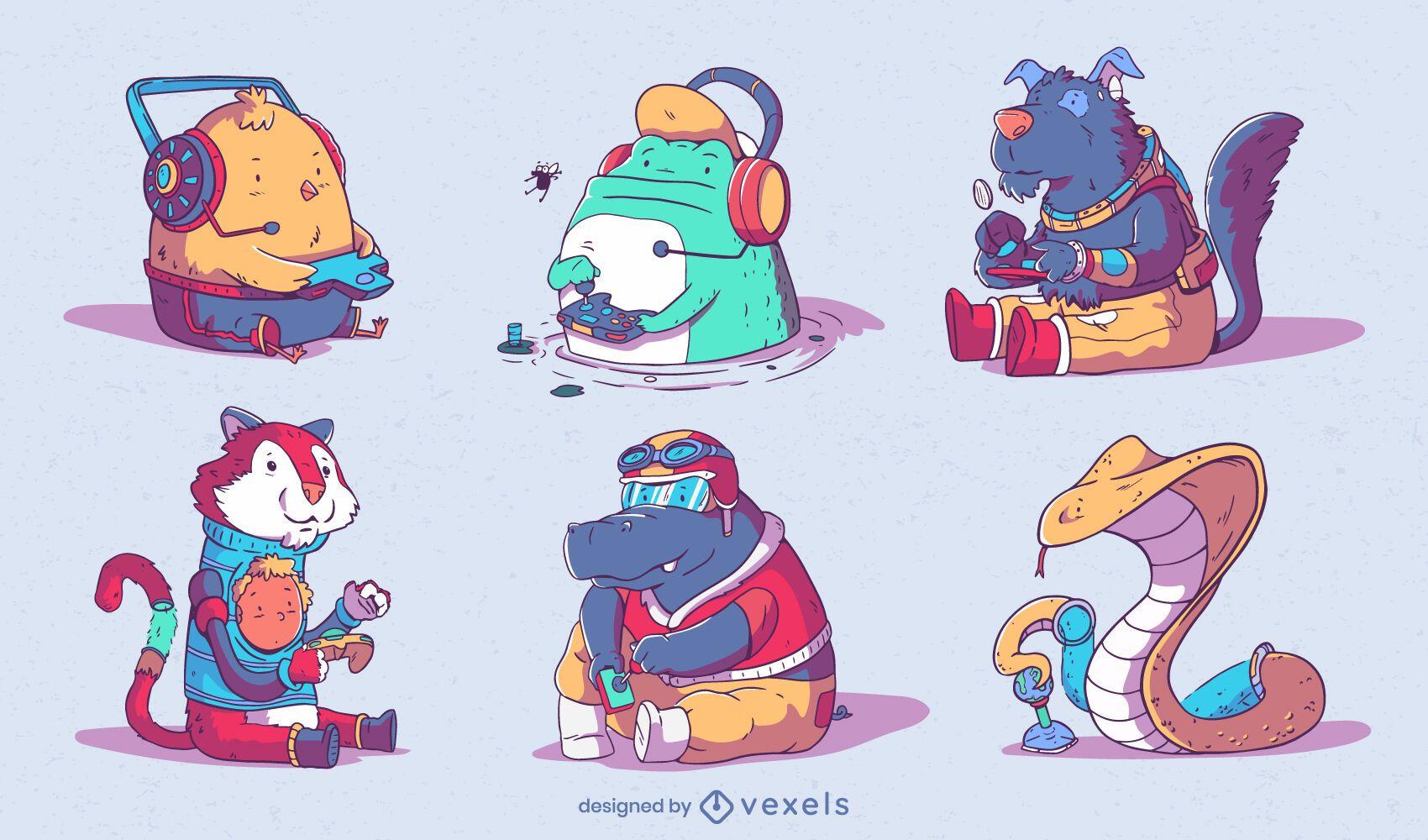 Cute gaming animal characters set