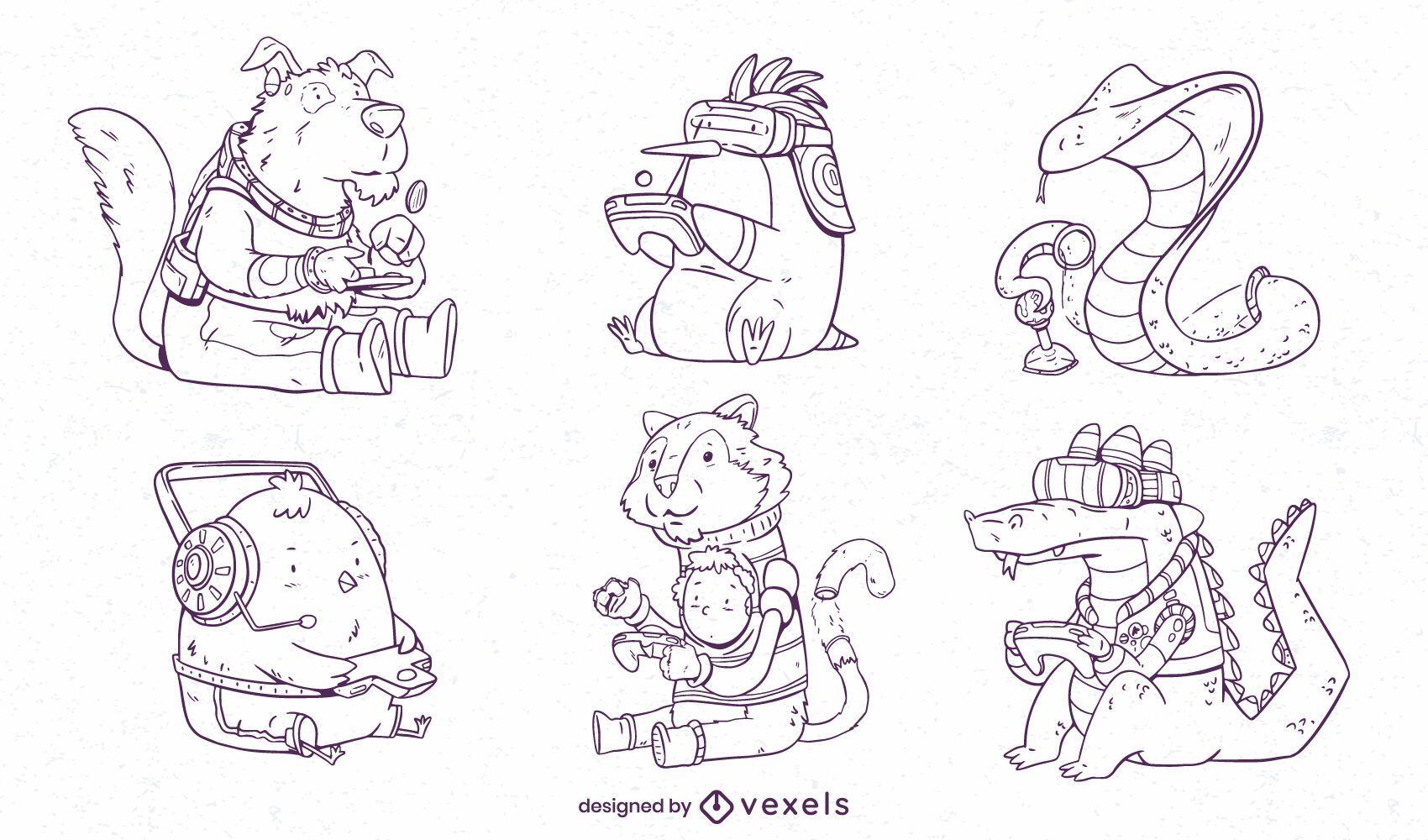 Set of cool hand drawn gaming animals
