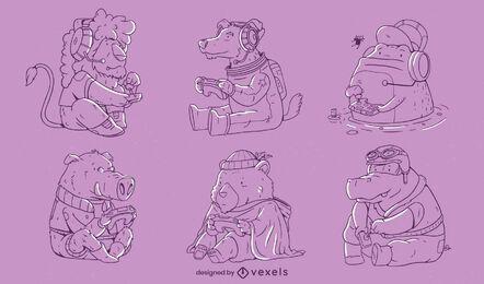 Conjunto de arte em linha de animais fofos para jogos