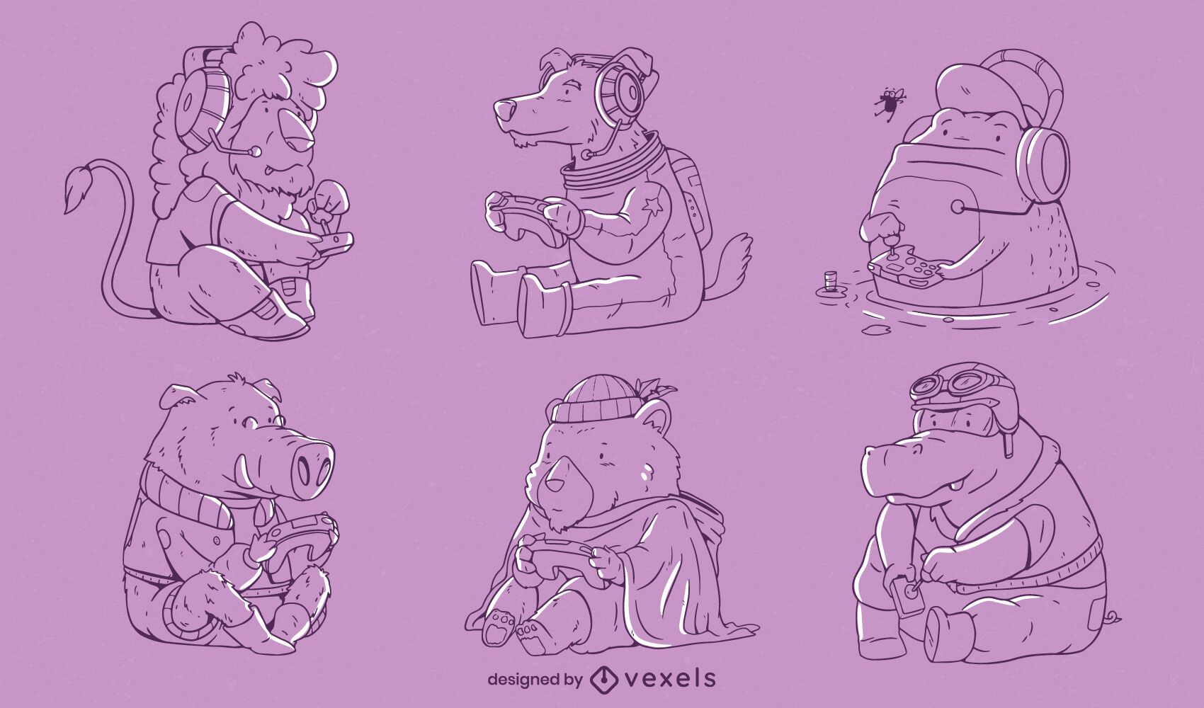 Cute gaming animals line art set