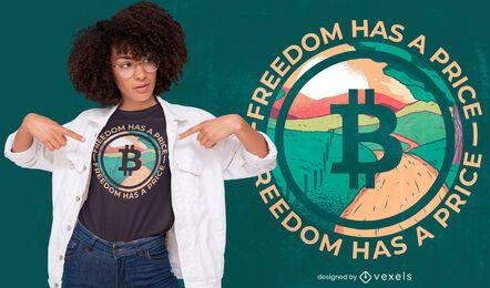Diseño de camiseta de paisaje con logo de Bitcoin
