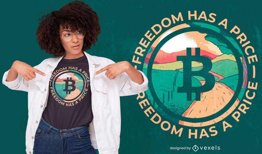 Bitcoin logo landscape t-shirt design