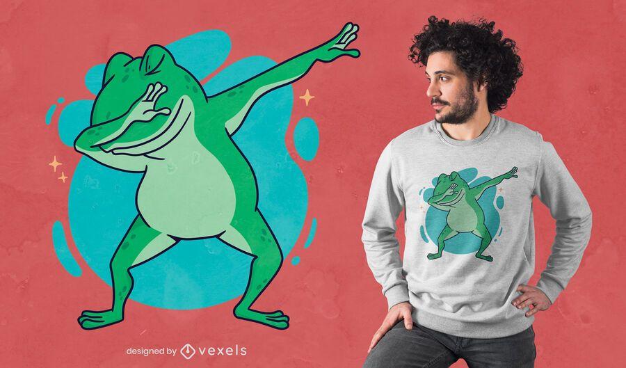Dabbing frog cartoon t-shirt design