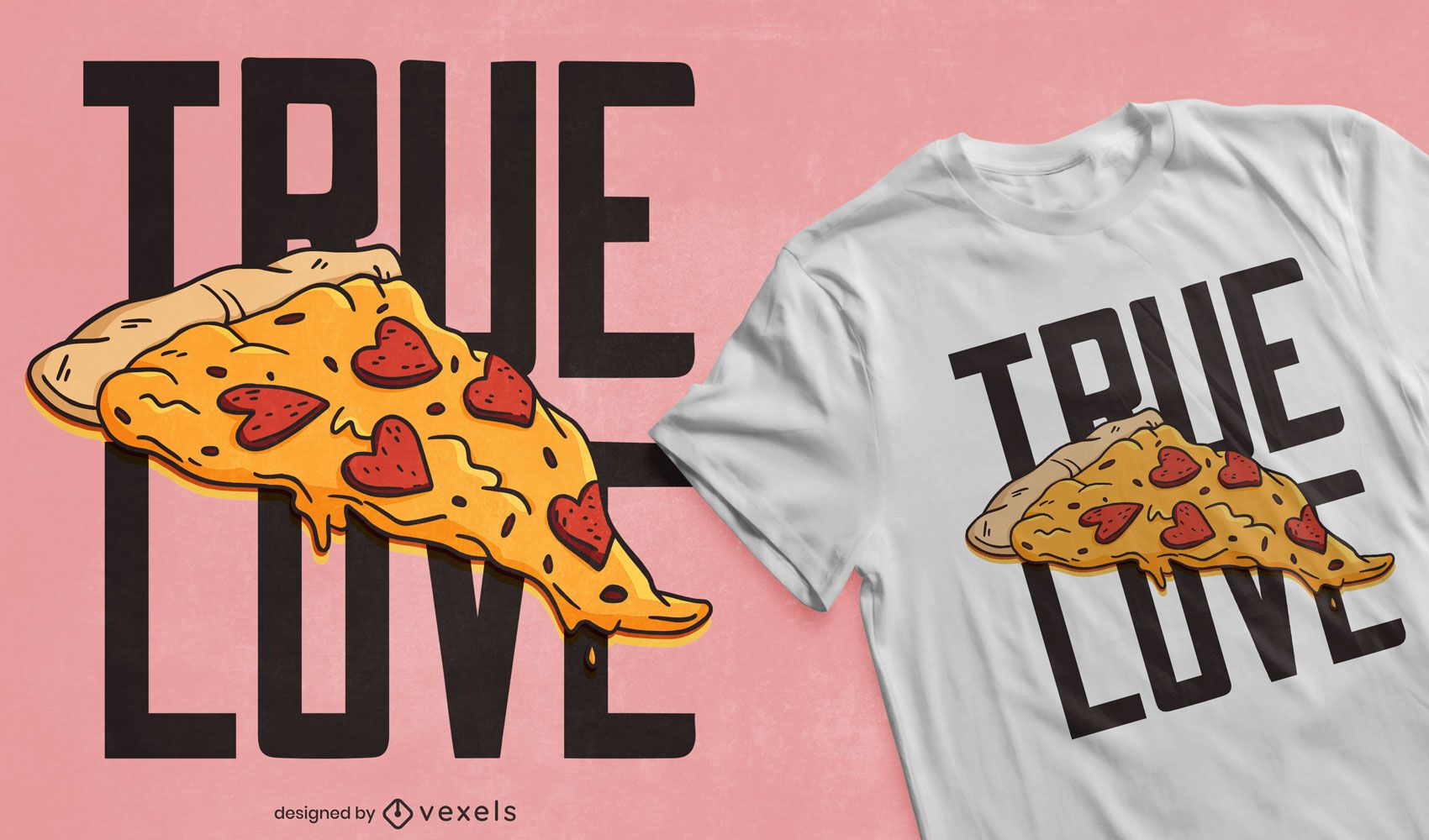 Design de t-shirt de pizza com coração e pepperoni